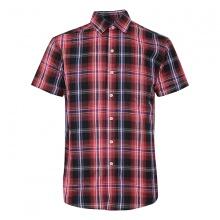 Áo sơ mi ngắn tay sọc caro thời trang ASM012(đen sọc caro đỏ)