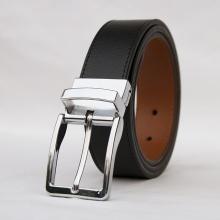 Thắt lưng nam, dây nịt nam, da bò thật 100%  Manzo 118.V (dây 2 mặt đen, nâu) - tặng đinh đục lỗ tiện lợi