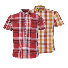 Bộ 2 áo sơ mi ngắn tay sọc caro thời trang ASM101 (đỏ, đỏ sọc caro cam)