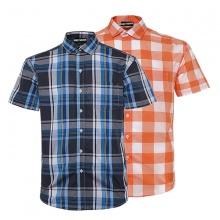 Bộ 2 áo sơ mi ngắn tay sọc caro thời trang ASM103 (xanh,cam)