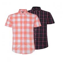 Bộ 2 áo sơ mi ngắn tay sọc caro thời trang ASM106 (cam,đen)