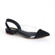 Giày nữ đế bệt mũi nhọn thời trang phối dây Erosska EL003 (Màu đen)