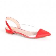 Giày nữ đế bệt mũi nhọn thời trang phối dây Erosska EL003 (Màu đỏ)