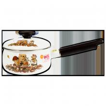 Nồi tay cầm tráng men Fujihoro 16cm, 1.4L ( Hoa văn con gấu) FTCV-16S, Sử dụng bếp từ