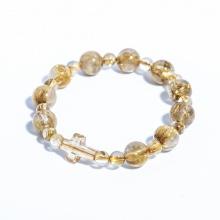 Vòng chuỗi mân côi thạch anh tóc vàng 10mm mix thánh giá pha lê YRQ01 - Vietgemstones