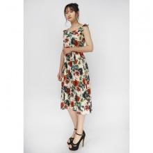 Đầm maxi lanh hoa