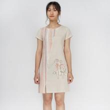 Đầm suông linen kẻ thêu