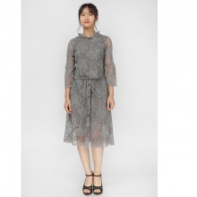 Bộ áo váy midi zen ghi