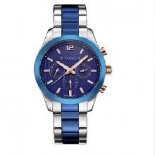 Đồng hồ nam julius home Hàn Quốc Dây thép phối 2 màu JAH-092B ( bạc viền xanh)