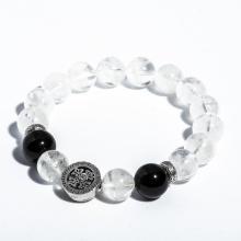Vòng tay thạch anh ưu linh trắng 8mm mix charm bạc Thái BRGC08M03 - VietGemstones
