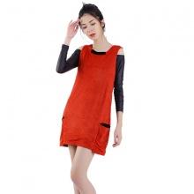 Đầm suông da lộn đỏ Angeli Phạm D626