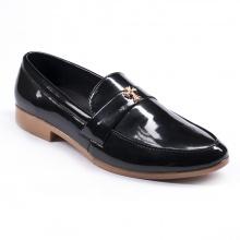 Giày lười nam đẹp đế khâu chữ thập da bóng màu đen - M95