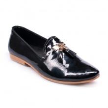 Giày lười nam đẹp đế khâu chuông vàng da bóng màu đen phong cách hàn quốc - M124-BONG