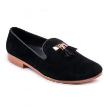 Giày lười nam đẹp đế khâu chuông vàng da buck màu đen sang trọng - M124-BUCK