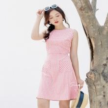 Đầm caro hồng cột nơ sau - ad190017