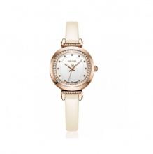 Đồng hồ nữ Julius Hàn Quốc dây da viền đá JA-843C JU1015 ( trắng)
