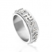 Nhẫn xoay 360 độ khắc chú úm mani bát minh hồng