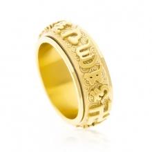 Nhẫn xoay 360 độ khắc chú úm mani bát minh hồng - v
