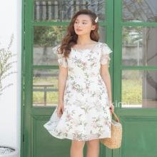 Đầm hoa cổ vuông - AD190016