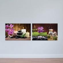 Bộ 2 tranh hoa lan và tinh dầu - tranh treo tường spa W2018