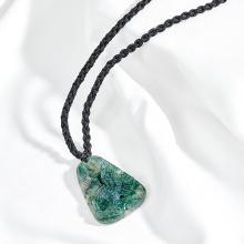 Mặt dây chuyền phong thủy đá chalcedony xanh rêu mặt đại bàng Ngọc Quý Gemstones
