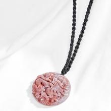Mặt dây chuyền phong thủy đá chalcedony hồng mặt rồng Ngọc Quý Gemstones