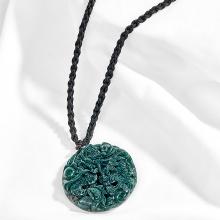 Mặt dây chuyền phong thủy đá chalcedony xanh mặt rồng Ngọc Quý Gemstones