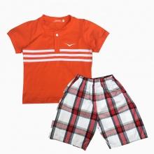 Đồ bộ bé trai cổ trụ thêu logo Vinakids màu cam 3 -7 tuổi