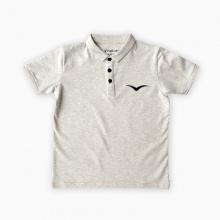 Áo thun có tay thêu logo Vinakids màu ghi 7-12 tuổi