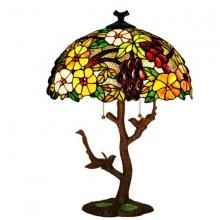 Đèn bàn cao cấp kiểu dáng Tiffany họa tiết chùm nho đế thân cây