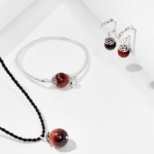 Bộ trang sức đá mắt hổ nâu đỏ thiên nhiên Ngọc Quý Gemstones