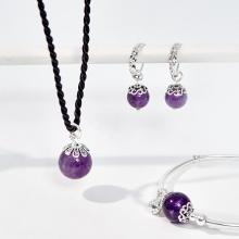 Bộ trang sức đá thạch anh tím thiên nhiên Ngọc Quý Gemstones