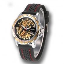 Đồng hồ cơ nam lộ máy dây silicone cao cấp, đồng hồ nam cơ, đồng hồ cơ mặt màu vàng