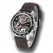 Đồng hồ cơ nam lộ máy dây silicone cao cấp, đồng hồ nam cơ, đồng hồ cơ mặt màu đen