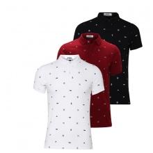 Bộ 3 áo thun nam cổ bẻ hoạ tiết cao cấp AT021 (đỏ , trắng , đen )