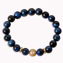 Vòng phong thủy đá mắt hổ xanh lam mix charm cầu vàng 8mm V297-8 - Hợp mệnh Mộc