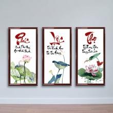 Tranh thư pháp chữ Phúc Lộc Thọ - tranh tết đẹp 2019 - W1444