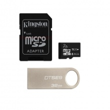 Combo USB Kingston 32G data traveler SE9 (BB) +Thẻ nhớ JVJ micro SDHC 8G C10+Adapter