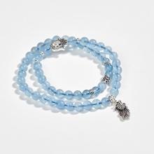 Vòng tay phong thủy 2 line đá hải lam ngọc phối charm cá bạc (6mm) Ngọc Quý Gemstones