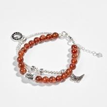 Vòng tay phong thủy 2 line đá thạch anh tóc đỏ phối charm bạc (6mm) Ngọc Quý Gemstones