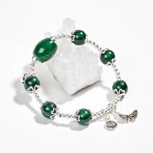 Vòng tay phong thủy đá cẩm thạch sơn thủy phối lu thống & charm hoa sen Ngọc Quý Gemstones