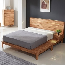 Giường đôi Calla liền tủ đầu giường gỗ cao su 2m0 - Cozino