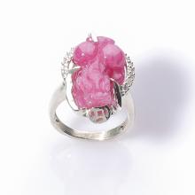 Nhẫn phong thủy ruby tỳ hưu bạch nhẫn