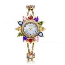 Đồng hồ nữ dây kim loại chính hãng Julius Star Hàn Quốc JS-021A đính đá lục sắc