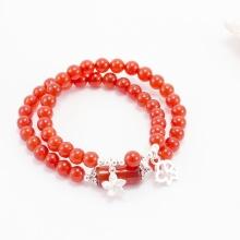 Vòng tay phong thủy 2 line đá mã não đỏ phối charm bạc (6mm) Ngọc Quý Gemstones