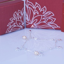 Opal lắc tay bạc hoa đính ngọc trai T05