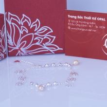 Opal lắc tay bạc hoa hồng đính ngọc trai  T05
