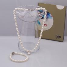 Opal Bộ trang sức ngọc trai kèm mặt bạc đính ngọc trai trắng