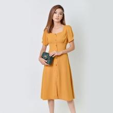 Đầm chữ a thời trang Eden cổ vuông màu vàng - D355