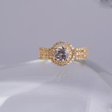 Opal_ Nhẫn bạc cao cấp mạ vàng đính đá may mắn_T05